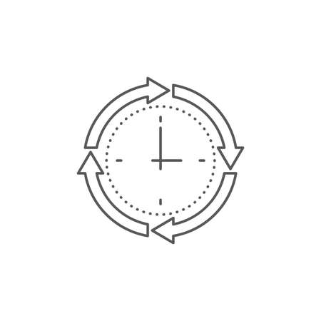 Clock and circular arrow vector icon isolated on white background