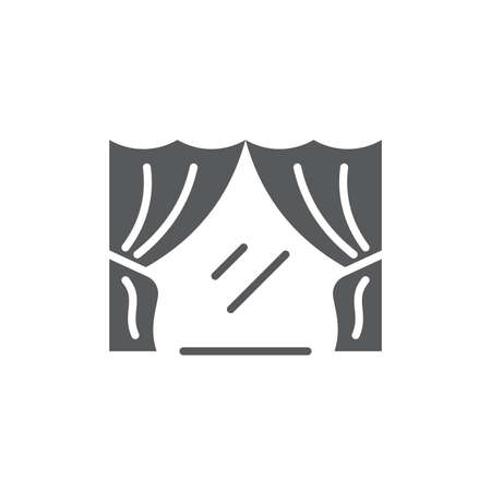 Classic curtain vector icon symbol isolated on white background