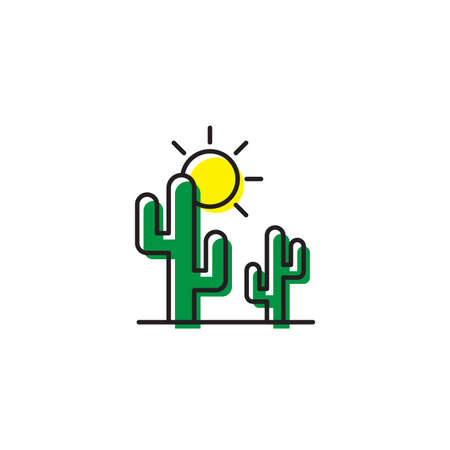 Cactus and sun vector icon isolated on white background