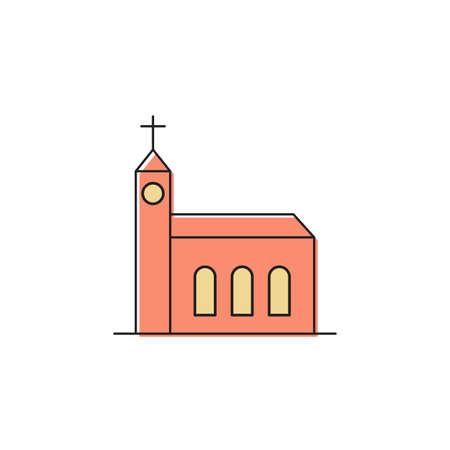 Church building vector icon symbol Christian isolated on white background