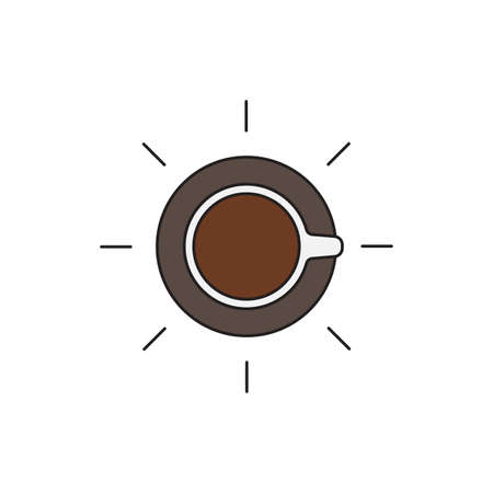 Coffee cup top view vector icon flat, isolated background