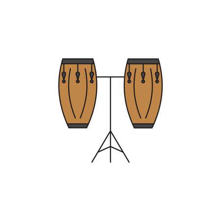Conga drum vector icon symbol isolated on white background Vetores