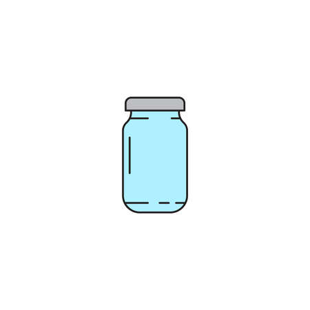 Glass jar vector icon, outline vector sign isolated on white background Ilustração