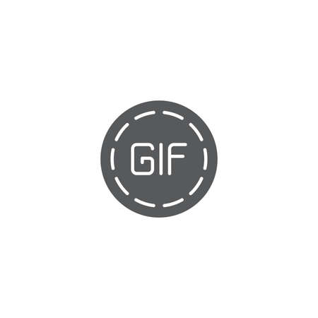 Play animation icon for social networks. Circle GIF sign