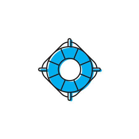 Lifebuoy vector icon, isolated on white background