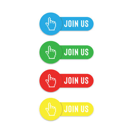 join us button with flat colors isolated on white background 向量圖像