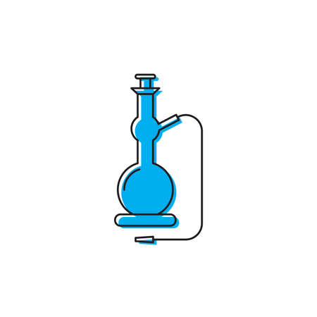 Shisha Pipe line vector icon, isolated on white background