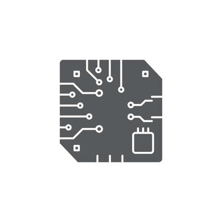 Motherboard CPU processor vector icon isolated on white background