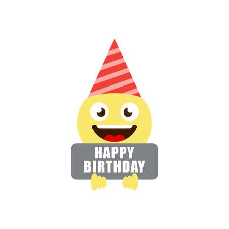 happy birthday emoticons vector icon symbol isolated on white background