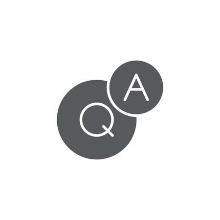 QnA or question and answer vector icon symbol isolated on white background