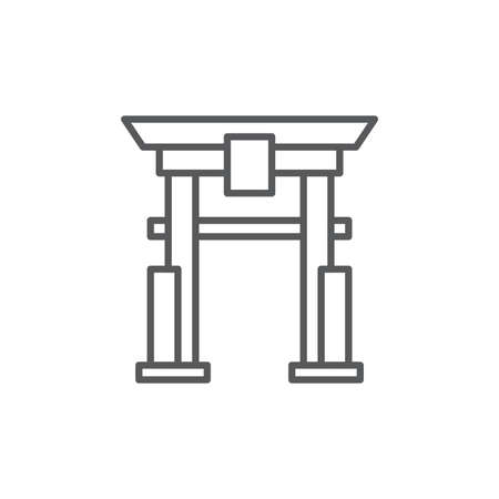 Torii gate vector icon symbol japanese icon isolated on white background