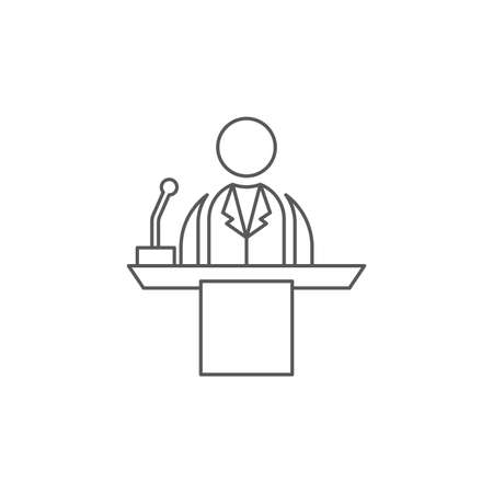 speaker with microphone vector icon isolated on white background