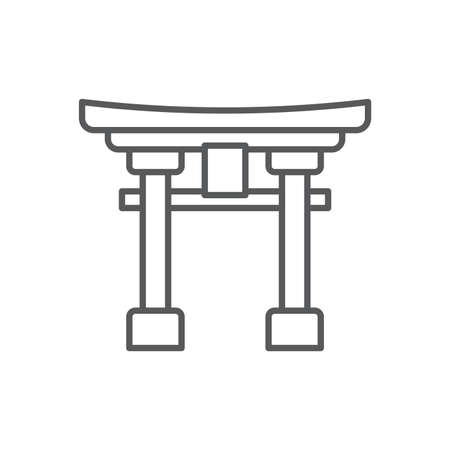 Torii gate vector icon symbol japanese icon isolated on white background