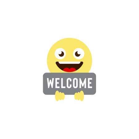 welcome emoticons vector icon symbol isolated on white background 向量圖像