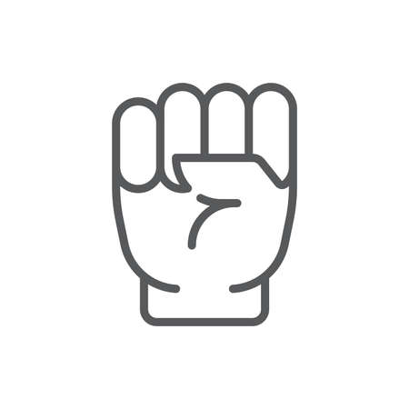 Fist hand up gesture vector icon symbol isolated on white background