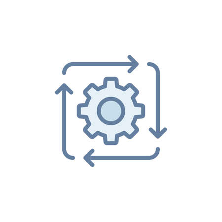 Work flow vector icon symbol isolated on white background Vecteurs