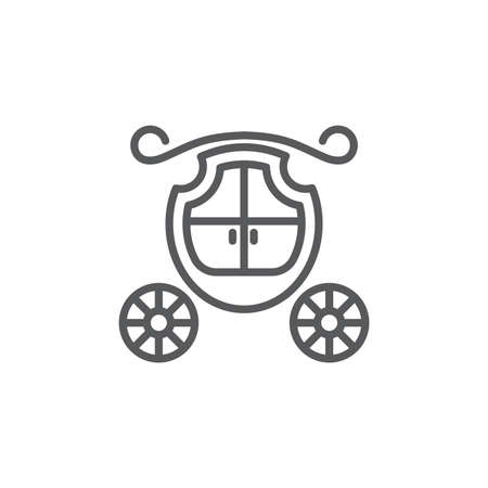 Wedding carriage vector icon symbol isolated on white background