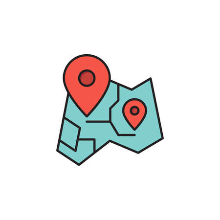Route on map vector icon symbol isolated on white background Ilustração