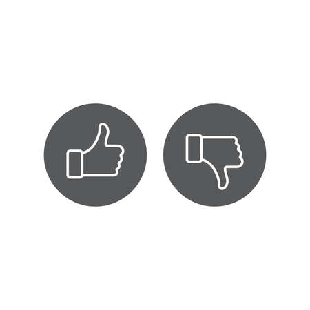 Thumbs up and thumbs down vector icon, isolated on white background Stock Illustratie