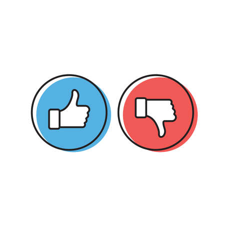 Thumbs up and thumbs down vector icon, isolated on white background Vektorgrafik