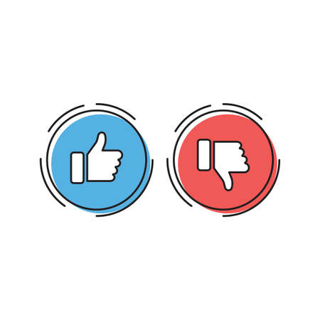 Thumbs up and thumbs down vector icon, isolated on white background Illustration