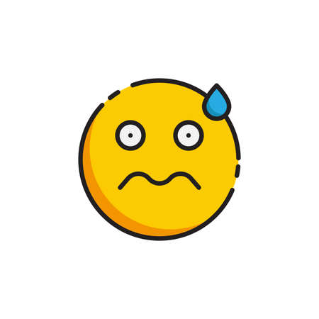 Worried Face emoticon vector icon symbol isolated on white background Illustration
