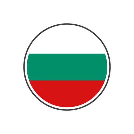 Circle bulgaria flag with grey border vector illustration isolated on white