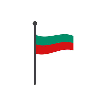 bulgaria flag with pole icon vector isolated on white background 矢量图像