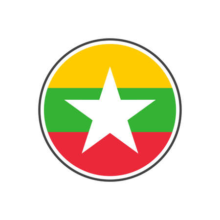 Circle myanmar or burma flag with grey border vector illustration isolated on white on vector isolated on white background 일러스트