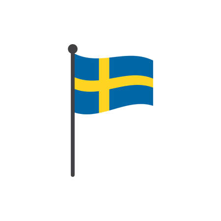 wavy sweden flag vector illustration with flagpole isolated on white 向量圖像