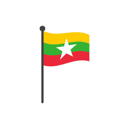wavy myanmar or burma flag vector illustration with flagpole isolated on white