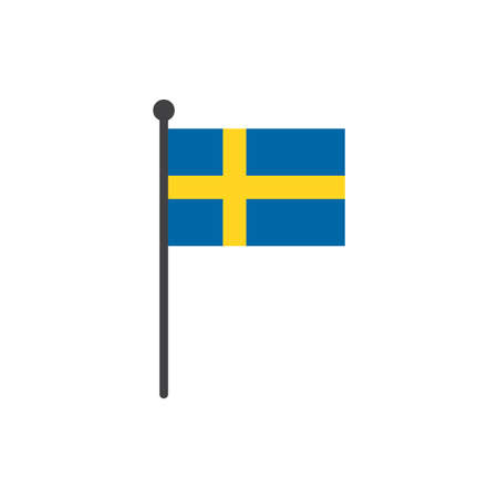 simple flat sweden flag vector illustration with flagpole isolated on white background 向量圖像
