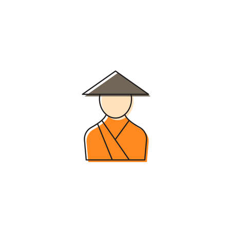 Asian monk vector icon symbol isolated on white background