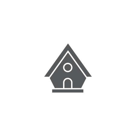 Birdhouse vector icon symbol house isolated on white background