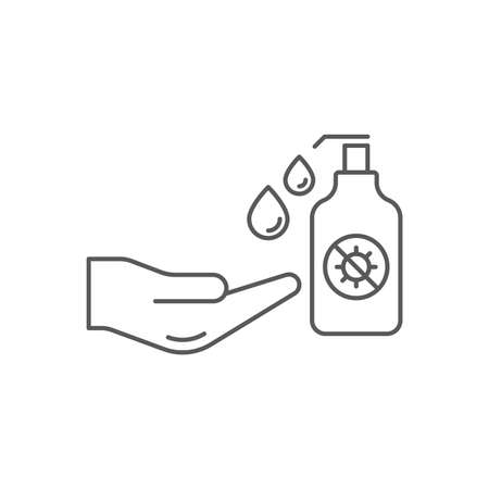 antiseptic for hands to avoid corona virus and keep hands clean vector icon isolated on white background