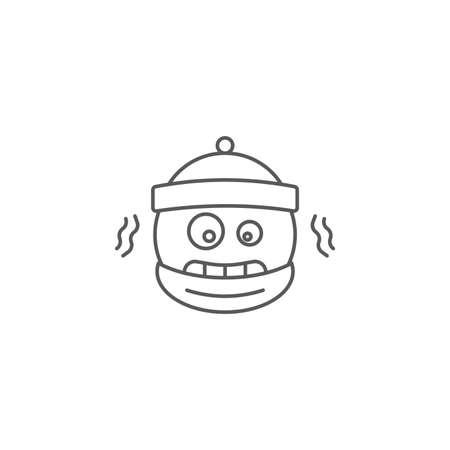 Cold freezing emoticon vector icon symbol emoji isolated on white background Vektoros illusztráció