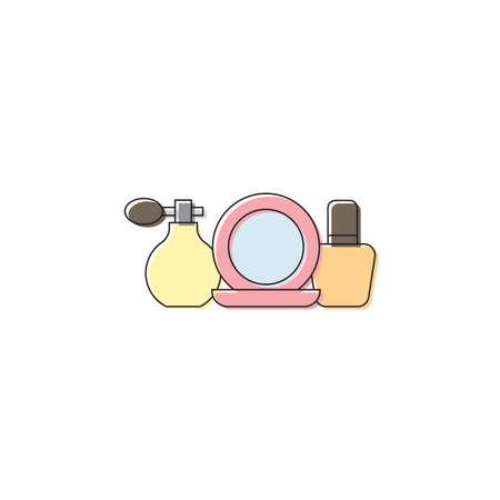 Cosmetics set vector icon symbol beauty isolated on white background