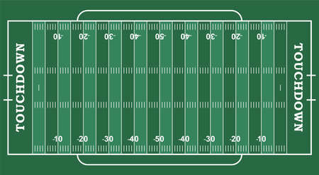 American football field with marking. Football field in top view with white markup Vector Illustratie