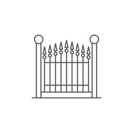 decorative gate vector icon, isolated on white background