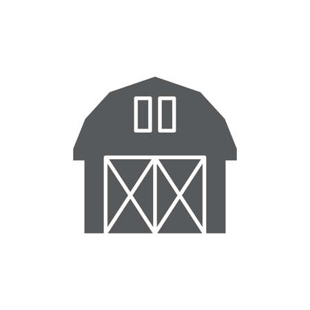 Farm barn vector icon symbol isolated on white background