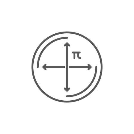 circle diameter vector icon symbol education isolated on white background Ilustrace