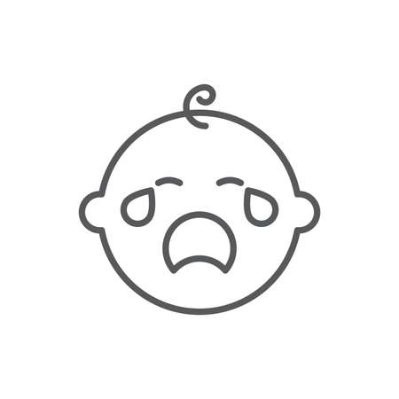 Crying baby vector icon symbol isolated on white background