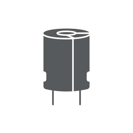 Electronic capacitor vector icon symbol isolated on white background Vettoriali