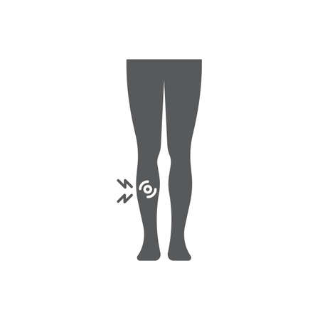 shin pain vector icon symbol isolated on white background