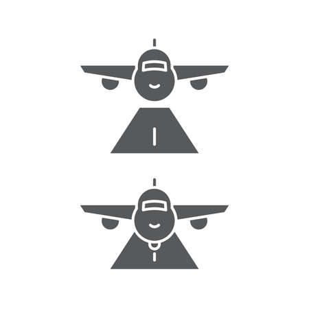 Plane landing and takeoff vector icon symbol isolated on white background