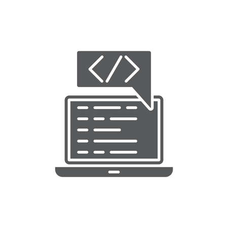 Custom coding symbol Programming vector icon isolated on white background Illustration