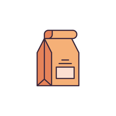 Fast food delivery paper bag vector icon symbol isolated on white background