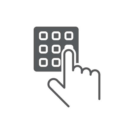 Hand and pin pad vector icon symbol isolated on white background