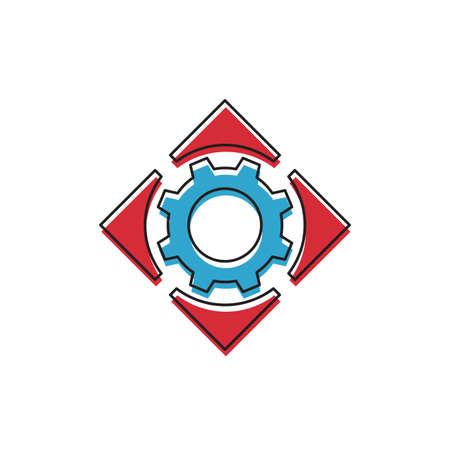 Setting gear and arrows vector icon symbol isolated on white background Vektoros illusztráció
