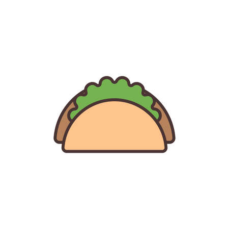 Taco mexican food vector icon isolated on white background